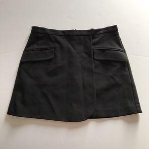 Theory Monroe Draped A Line Black Mini Skirt M